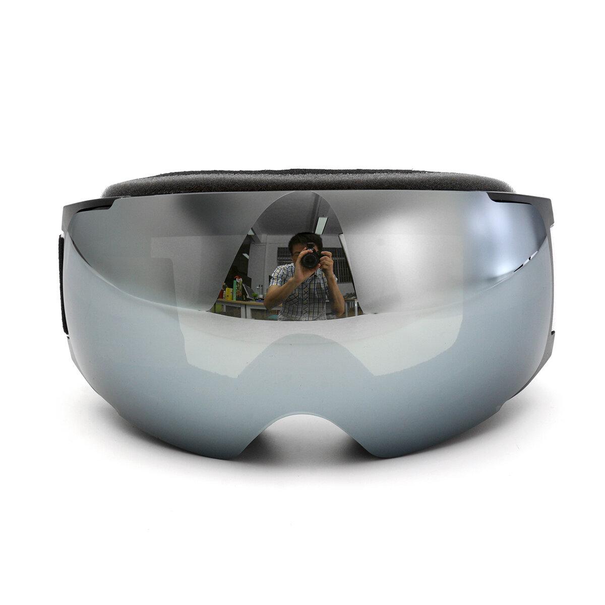 Ski Goggles Proteção UV Snowboard Ímã Anti Fog Double Lens Black Frame