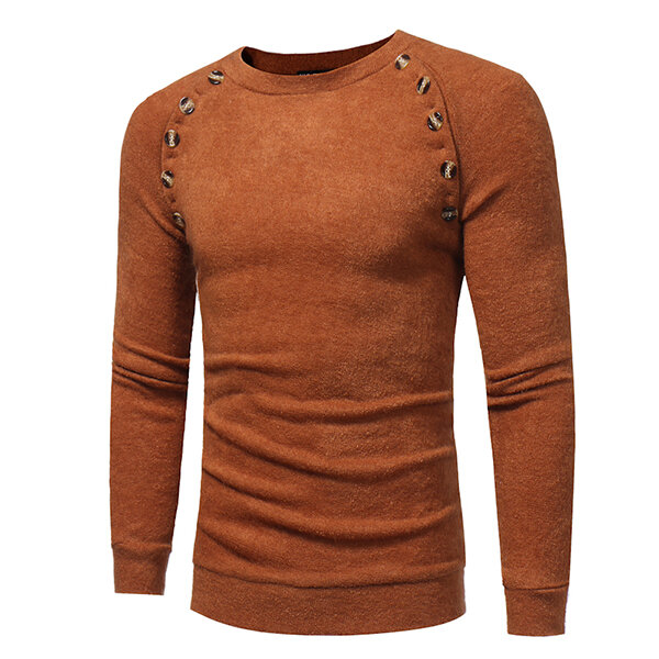 Herbst Winter Herrenmode Button Design Pullover Casual Slim Rundhals Langarm Pullover Swe