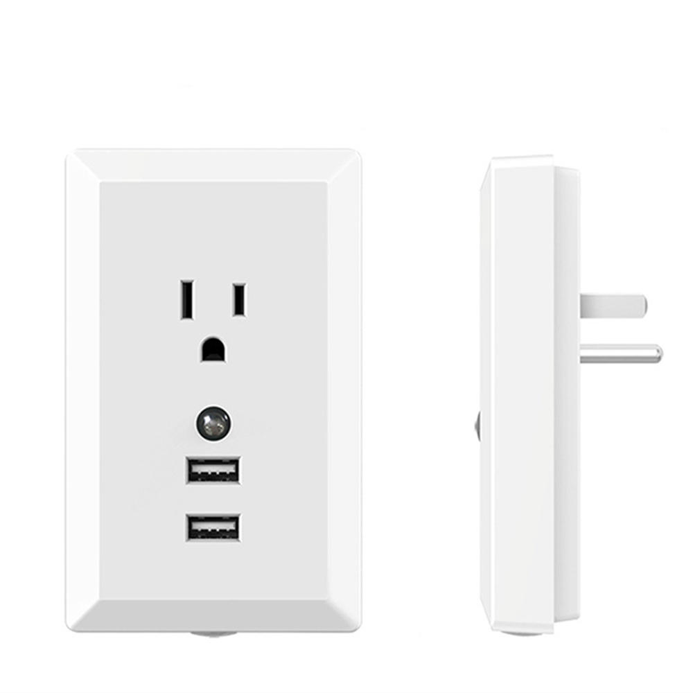 2.4A Dual USB Charger Wall Socket Power Supply Adapter US with Smart Night Light