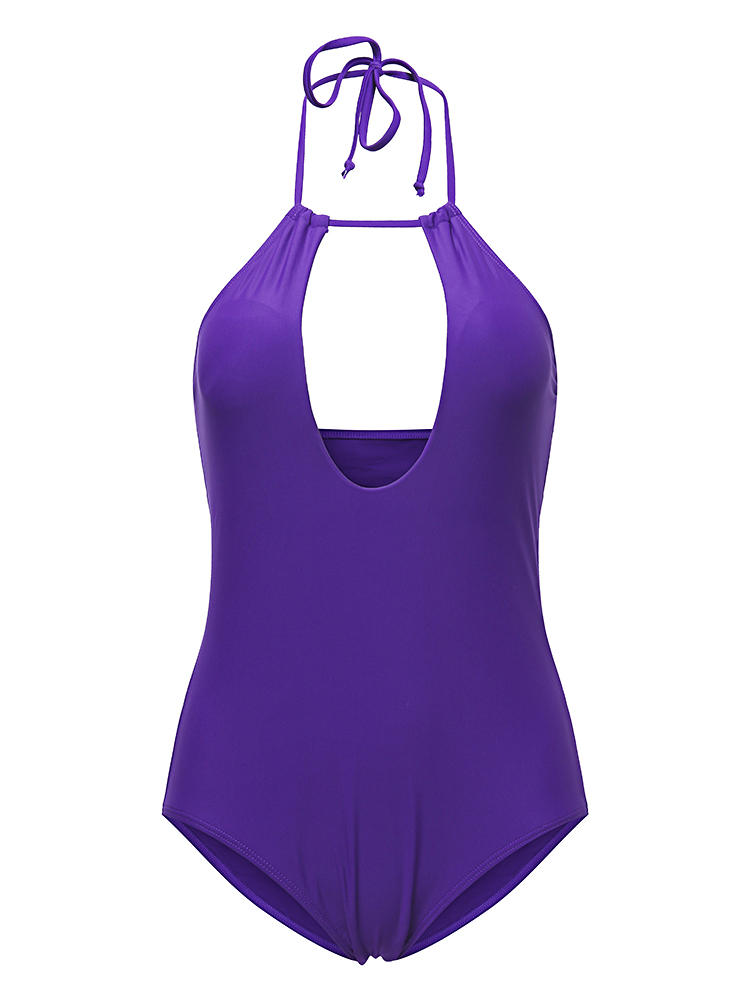 Elasticity Chest Hollow Out Solid Color Halter Swimwear