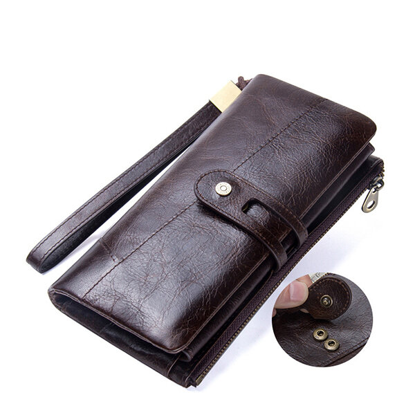 Men Women Genuine Leather Causal Long Zipper Hasp Wallet