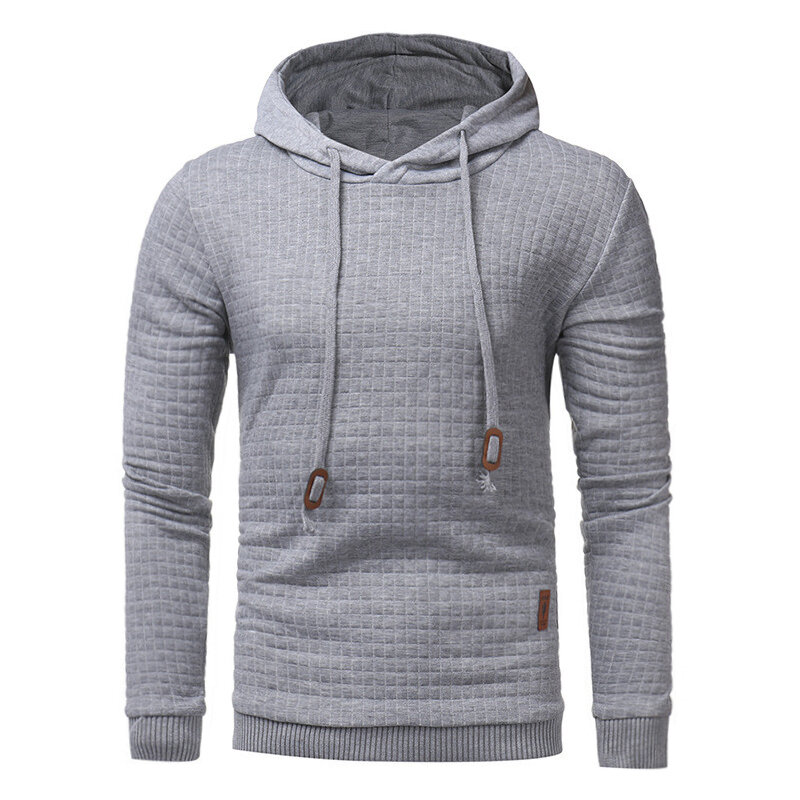 Men's Autumn Winter Polyester Fitness Long Sleeve Hooded Pure Color Casual Sweatshirt
