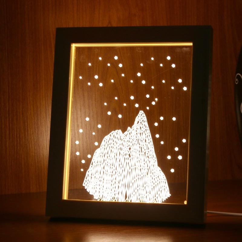 KCASA FL-725 3D Photo Frame Illuminative LED Night Light Madeira Snow Mountain Desktop Decorativa USB Lâmpada para decoração de arte de quarto Presentes de Natal