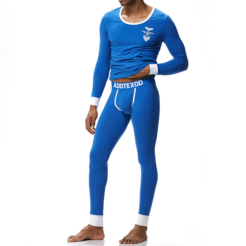 Mens Comfy Cotton Thermal Underwear Suits Keep Warm Long Johns Home Pajama Set