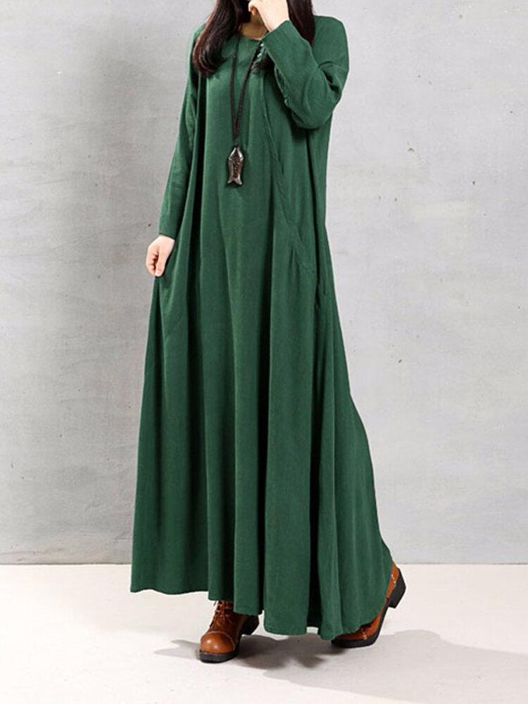 Mulher Vintage Vestido Longo e Solto de Algodão com Manga Longa