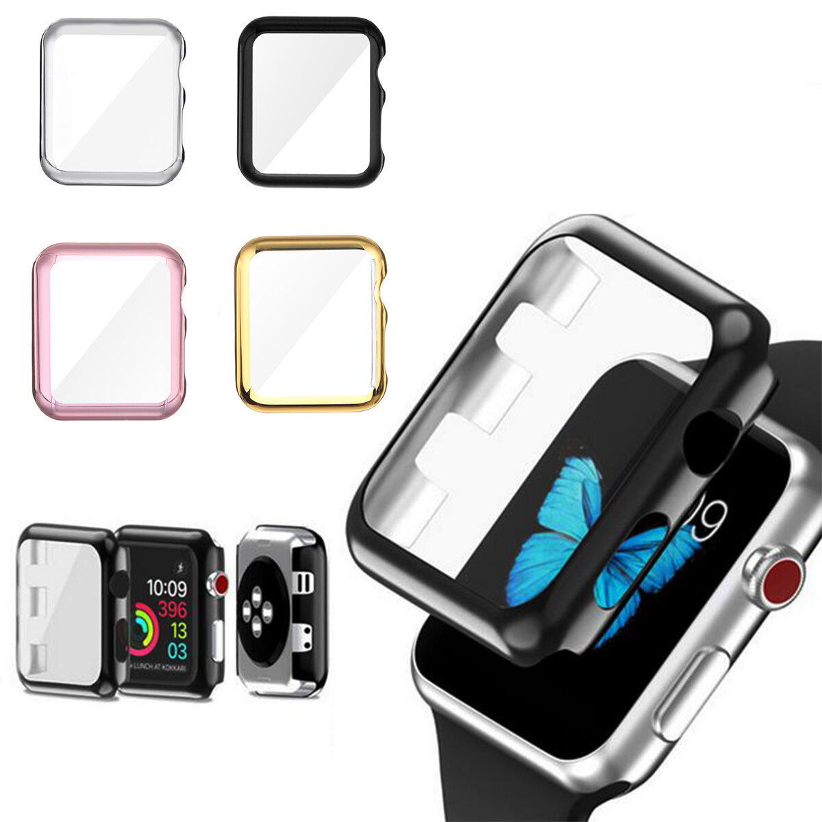38/42mm Plating PC Front Case Screen Protector Cover for Apple Watch Series 3
