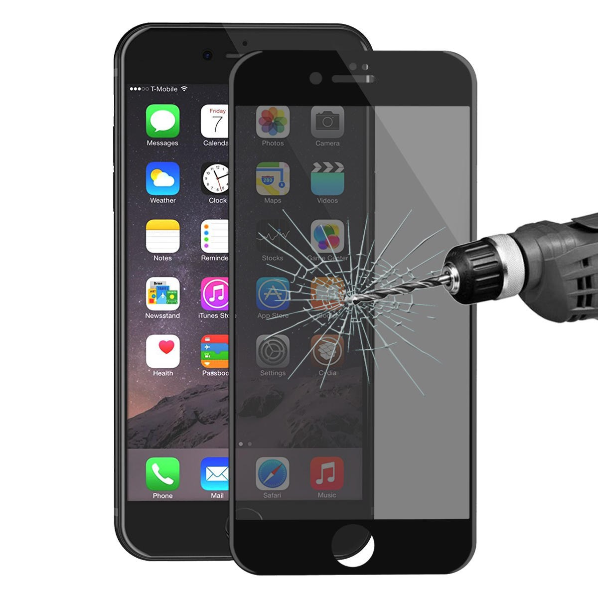 ENKAY Anti Spy 3D Arc Kenarı 0.26mm 9H Karbon Fiber Temperli Cam Ekran Koruyucu iPhone 7 Plus