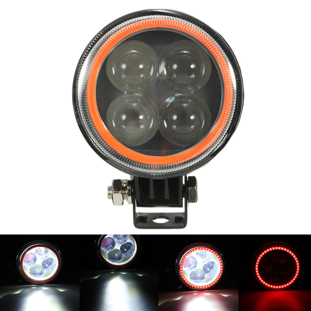 9V-30V 12V Round LED Hi / Lo Beam Work Light с RGB Angel Halo Spot Headlight