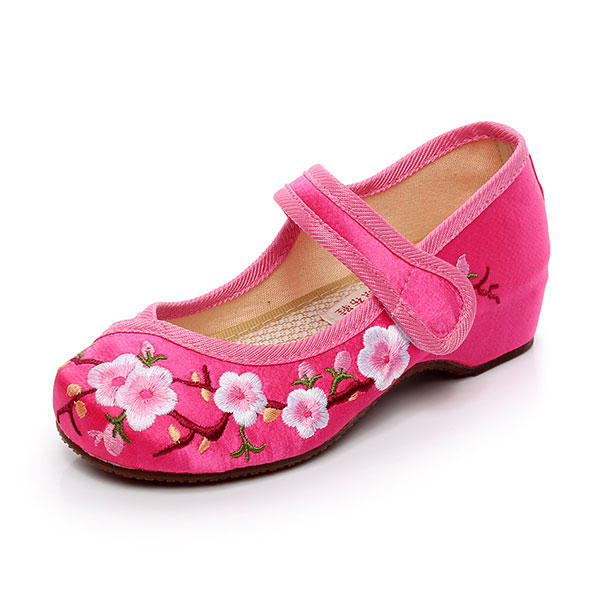 Girls Mary Janes Chinese Embroidery Flowers Silk Shoes Peach Blossom Flat Loafers Casual Footwear