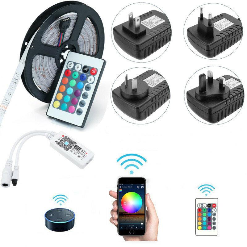 5M SMD2835 Alexa Smart Home Controlador WIFI APP Control Não impermeável RGB LED Strip Light DC12V