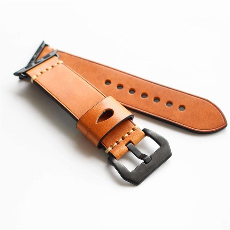 Montre en cuir véritable de cheval fou Bande pour Apple Watch série 1 / série 2 38 / 42mm
