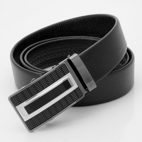 Mens Business Fashion Automatic Buckle Cintura Strap Black Coffee Cowhide Couro Cinto