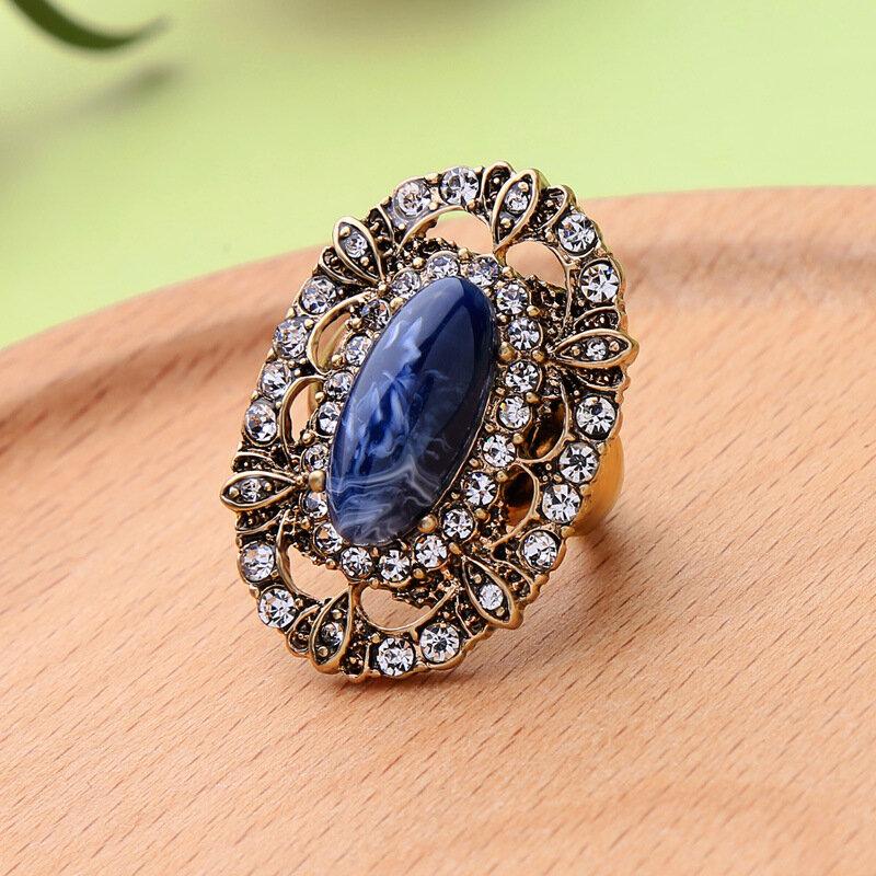 Элегантное кольцо с синим камнем в стиле ретро Женское кольцо со стразами
