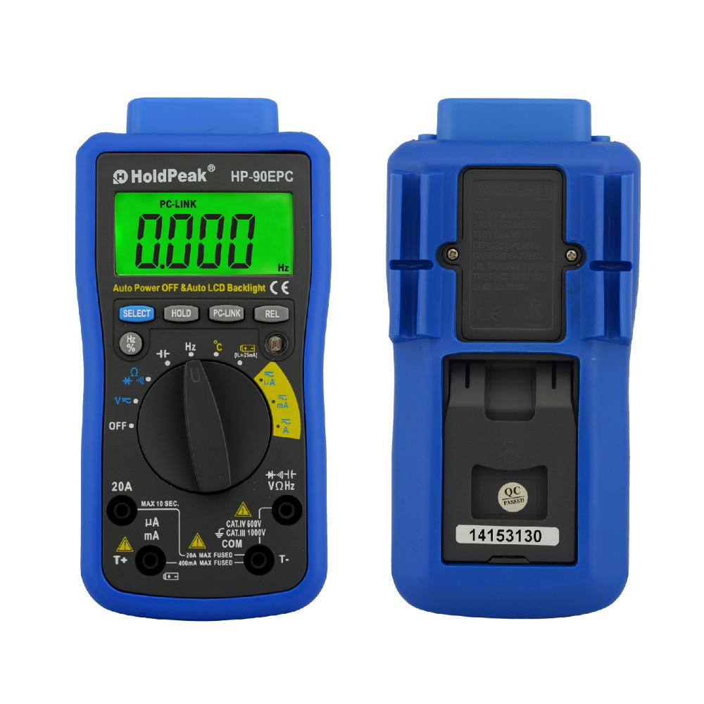 HoldPeak HP-90EPC 4000 Counts True RMS Digital Multimeter Battery Diode/ hFE Tester With USB/ Software CD and Data Output Function