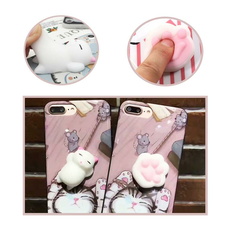 Bakeey ™ Cartoon 3D Squishy Squeeze Slow Rising Soft Lazy Cat Claws PC Caso para iPhone 7/8 7Plus / 8Plu