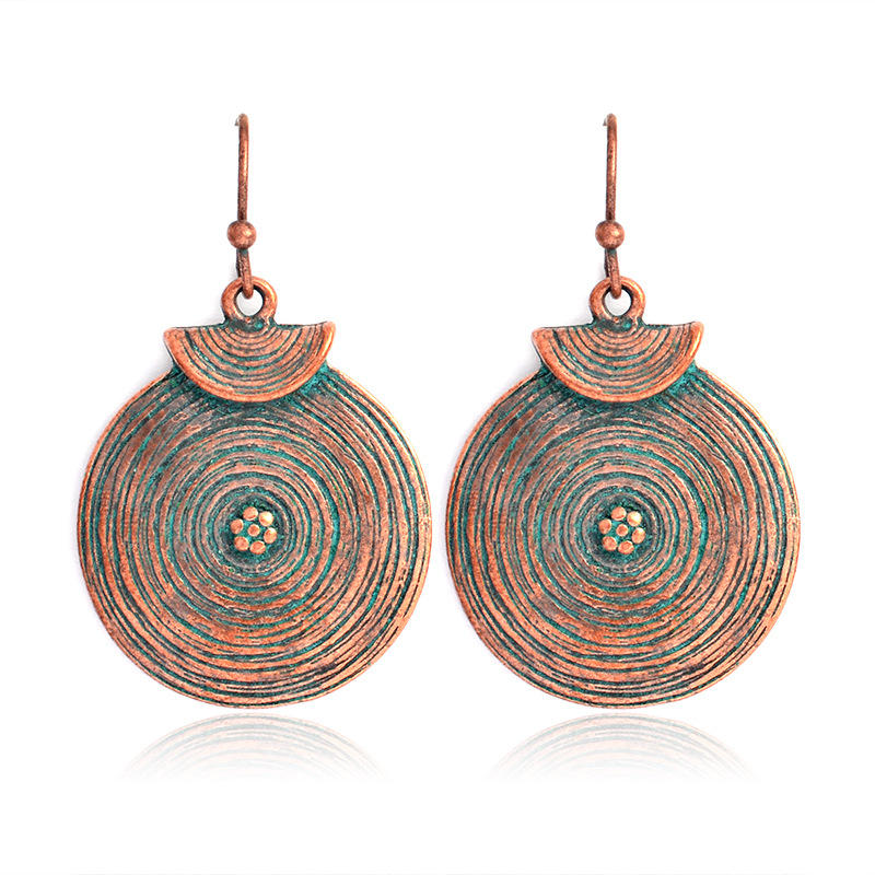 Retro Women Alloy Round Growth Ring Drop Earrings Gift