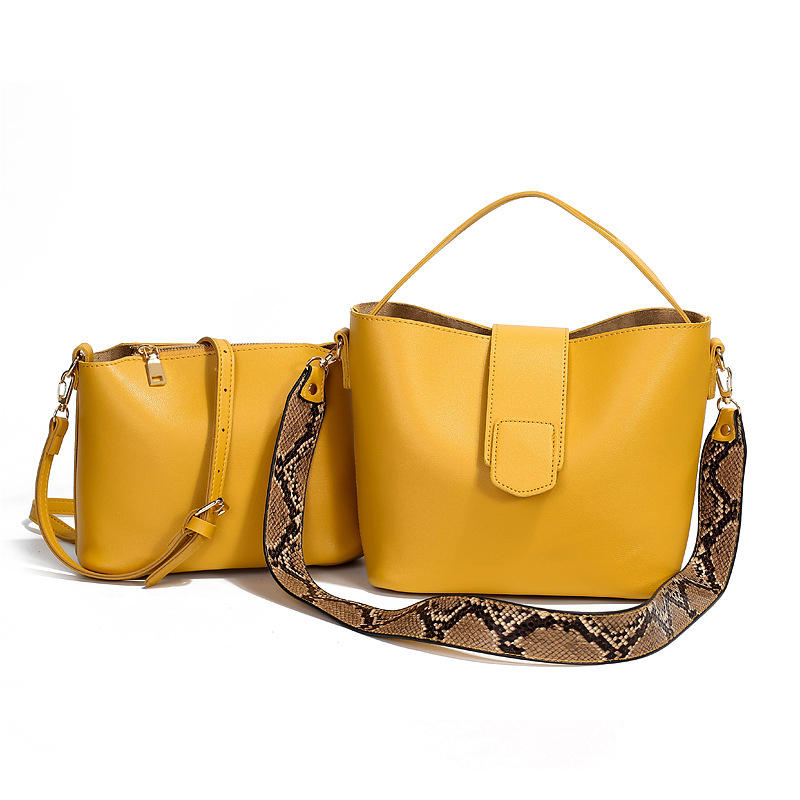 Two-piece Solid Snake Pattern Bucket Handbag Shoulder Bag For Women