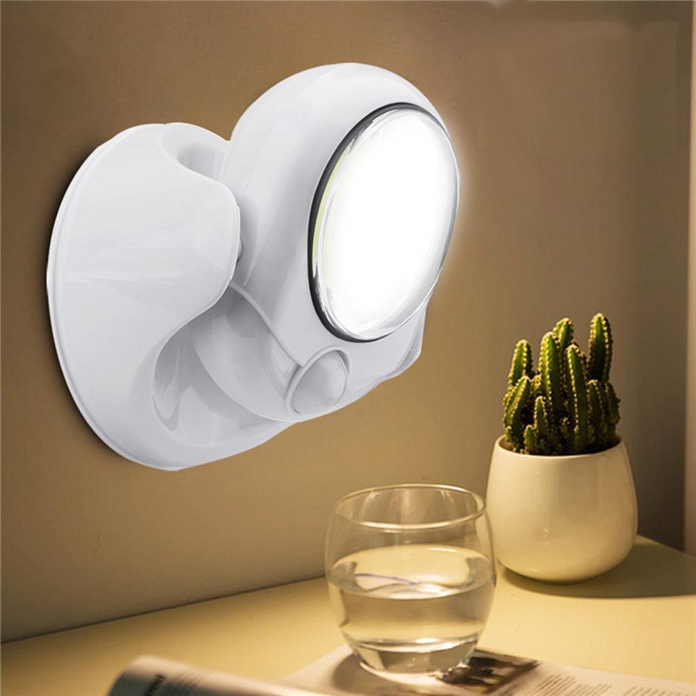 3W Kablosuz Yuvarlak COB LED PIR Sensör Gece Lambası Batarya Powered Duvar Lamba Merdiven Dolabı