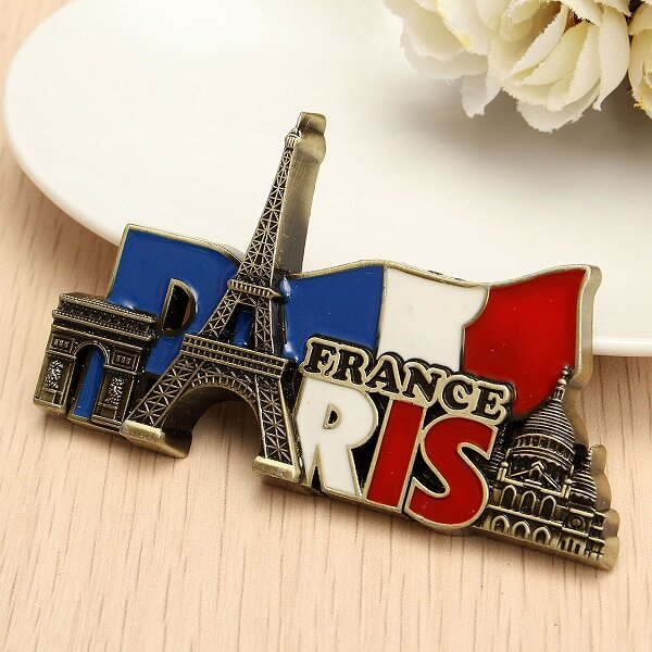 Paris France Travel Collectible Metal Stereoscopic Fridge Magnet Sticker Tourist Souvenir