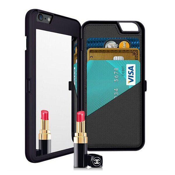 Mirror Card Slot Wallet Back Flip Bracket PC Caso para iPhone 6Plus / 6sPlus
