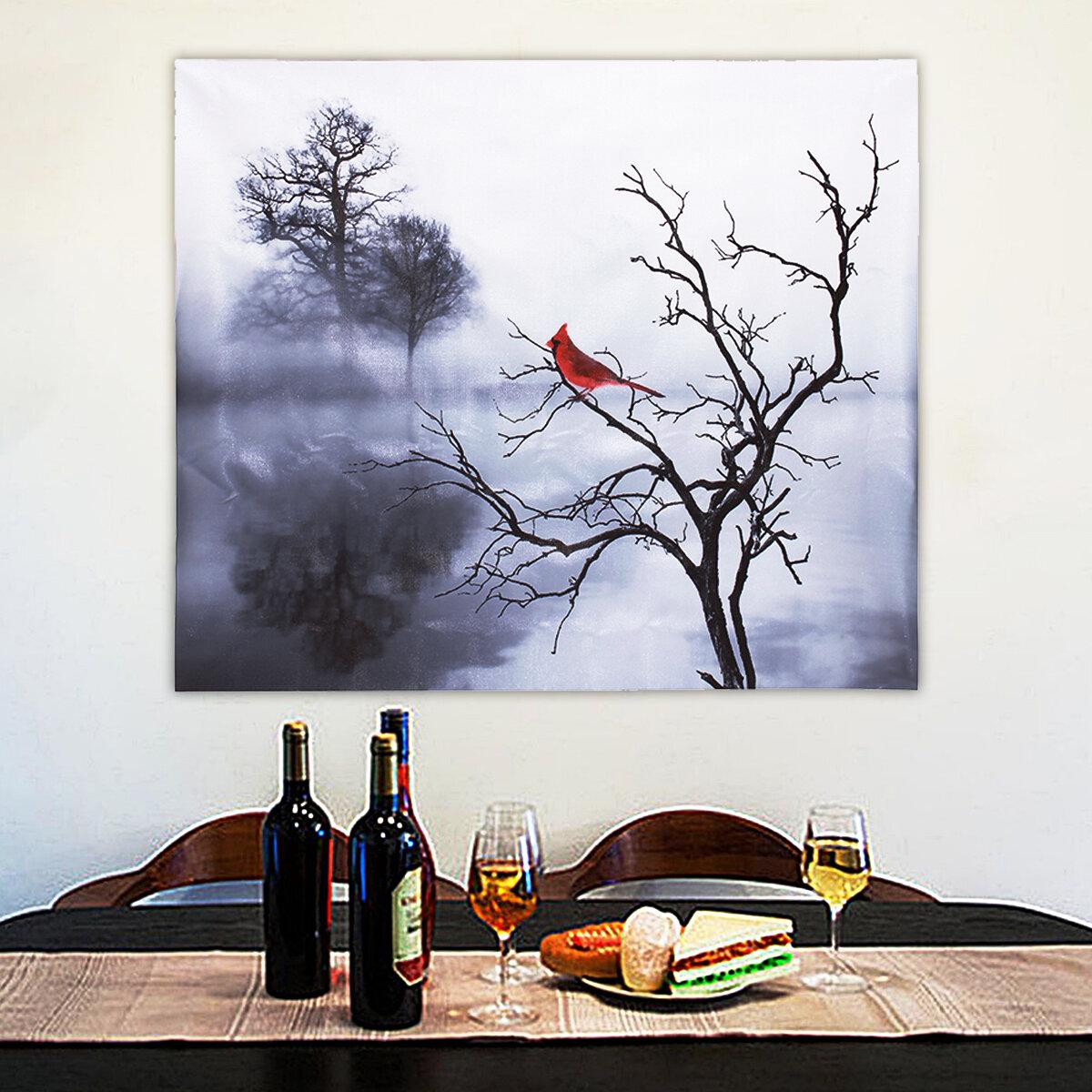 Lona Da Árvore Do Pássaro Vermelho moderno Óleo Pinturas Impressas Casa Decoração Da Arte Da Parede Decorações Sem Moldura