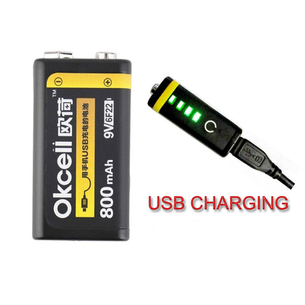 OKcell 9V 800mAh USB Rechargeable Lipo Battery for RC Helicopter Model Microphone