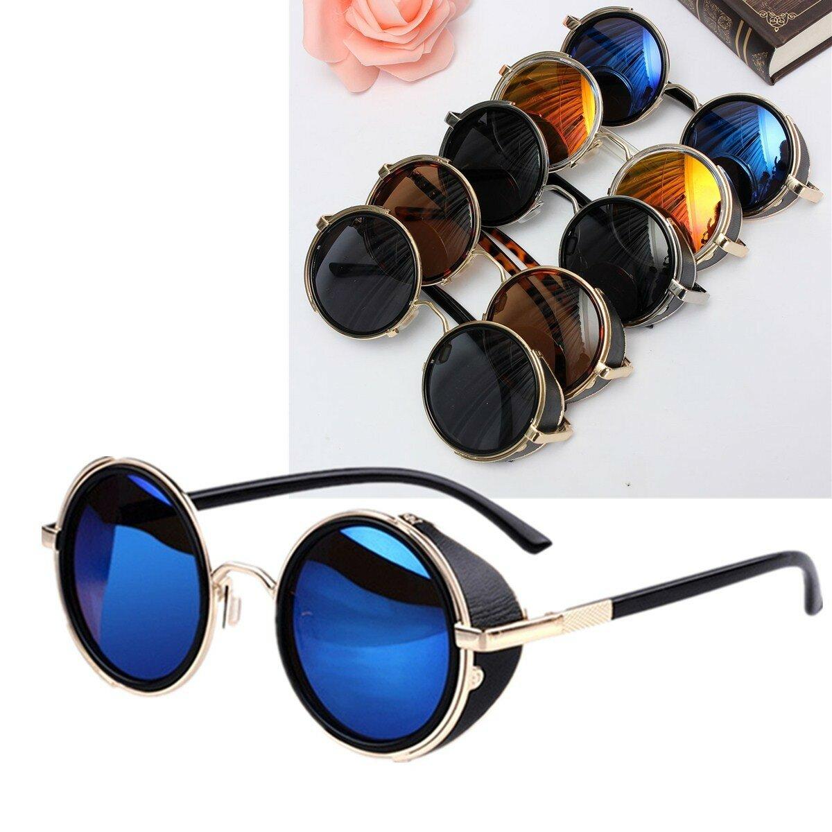 Okulary przeciwsłoneczne unisex Vintage UV400 Steampunk Round Mirror Lens Glasses