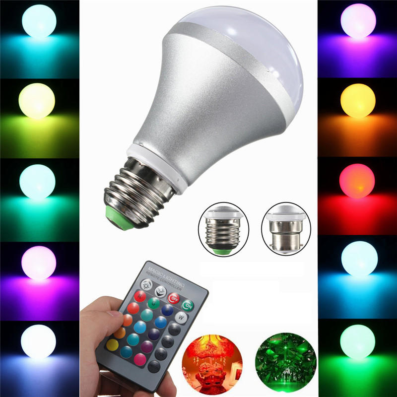 10W E27 B22 RGB Color Changing LED Bulb 480-520LM Light Spot Flood Remote Control AC 85-265V