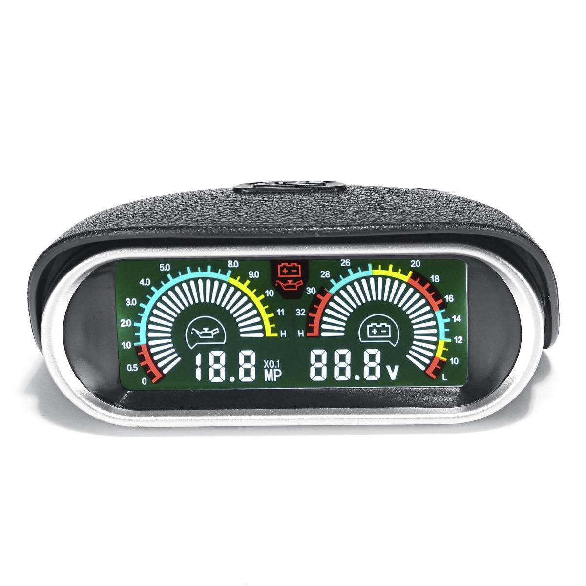 2in1 LCD Digital Engine Gauge Horizontal Oil Voltage Meter with 1/8 NPT Sensor DC 9-36V For Boat Car Truck