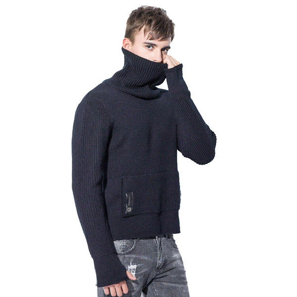 High Street Turtleneck Thick Warm Knitted Sweaters Fall Winter Men's Fashion Solid Color Pullovers