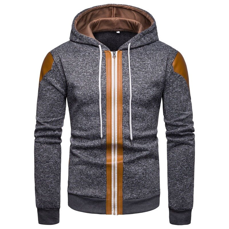 Mens Fashion Solid Color Long Sleeve Hooded Casual Sweatshirt