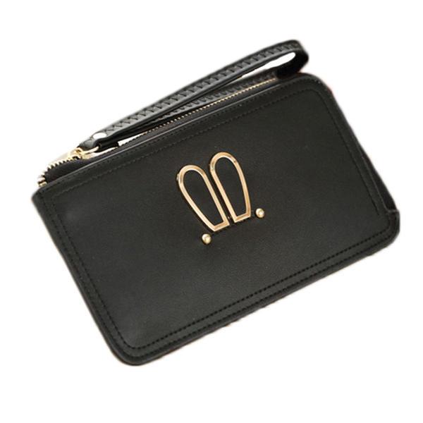 Mulheres orelha de coelho embreagens sacos zipper carteira carteira titular bolsa de telefone 5.5 '' para Iphone 7plus