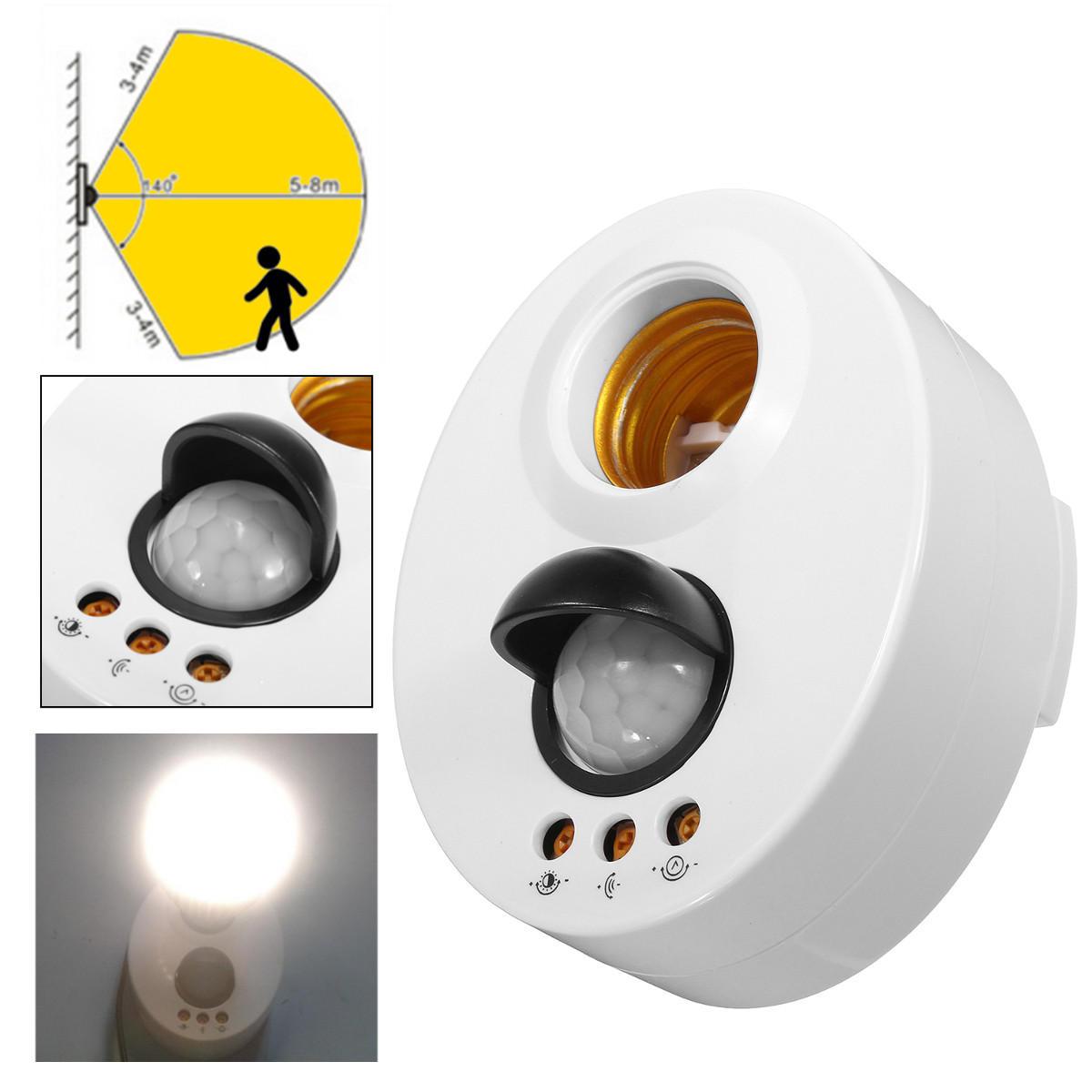 E27 Kızılötesi Hareket PIR Sensör Ayarlanabilir Gecikmeli İndüksiyon Lamba Tutucu Anahtar