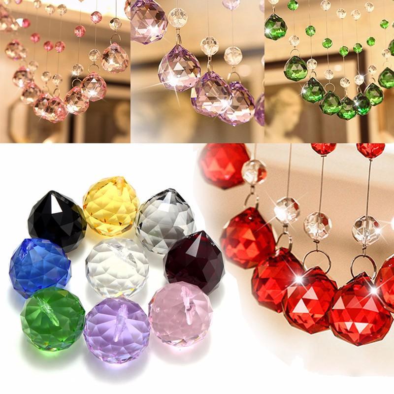 Goccia a prisma con sfera sfaccettata a sospensione in cristallo da 40 mm per luce a sospensione