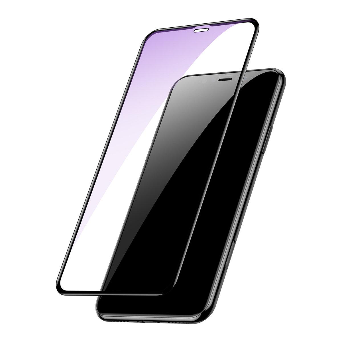 Baseus 0.2mm Full Screen Arc Surface Clear / Anti Protector de pantalla de vidrio templado con luz azul para iPhone XS Max / iPhone 11 Pro Max