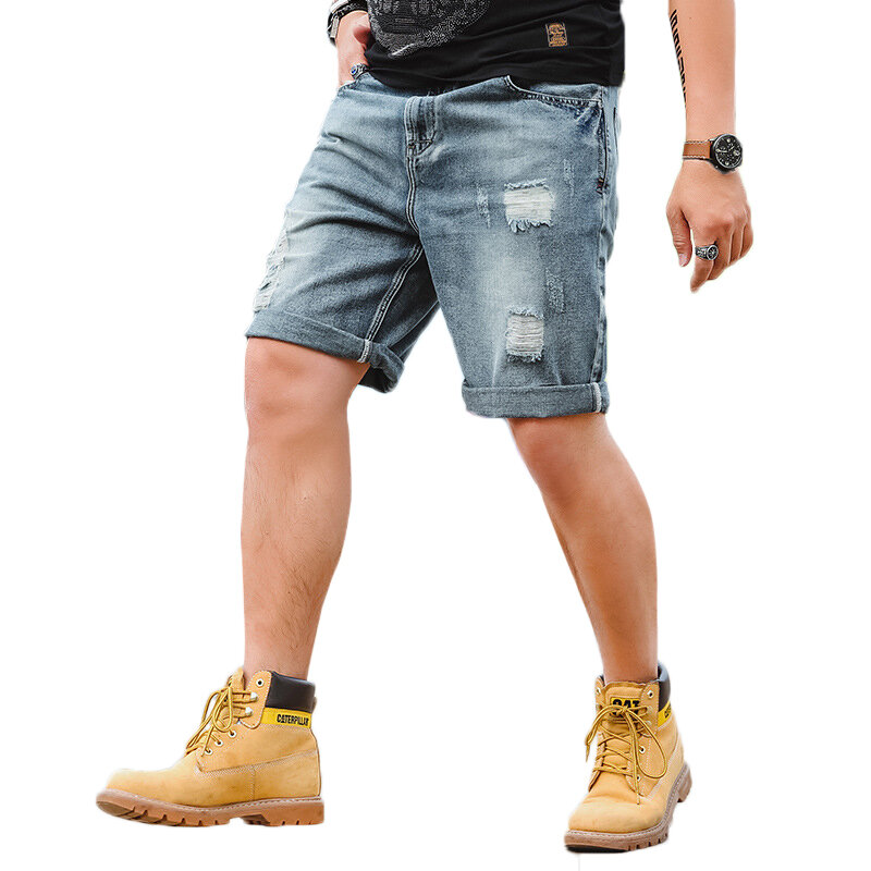 Summer Plus Size Retro Nostalgic Fashion Ripped Holed Short Jeans for Men