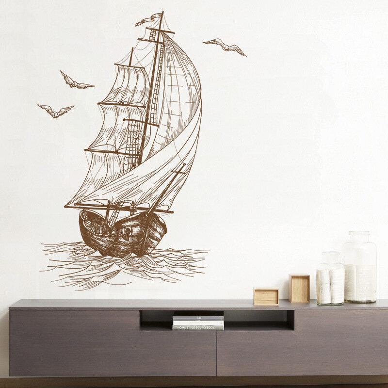 Schizzo Sedia a Vela per Barche a Vela Parete Video Decorazione Camera da  letto Camera Bambini Adesivi da parete 40 * 60CM