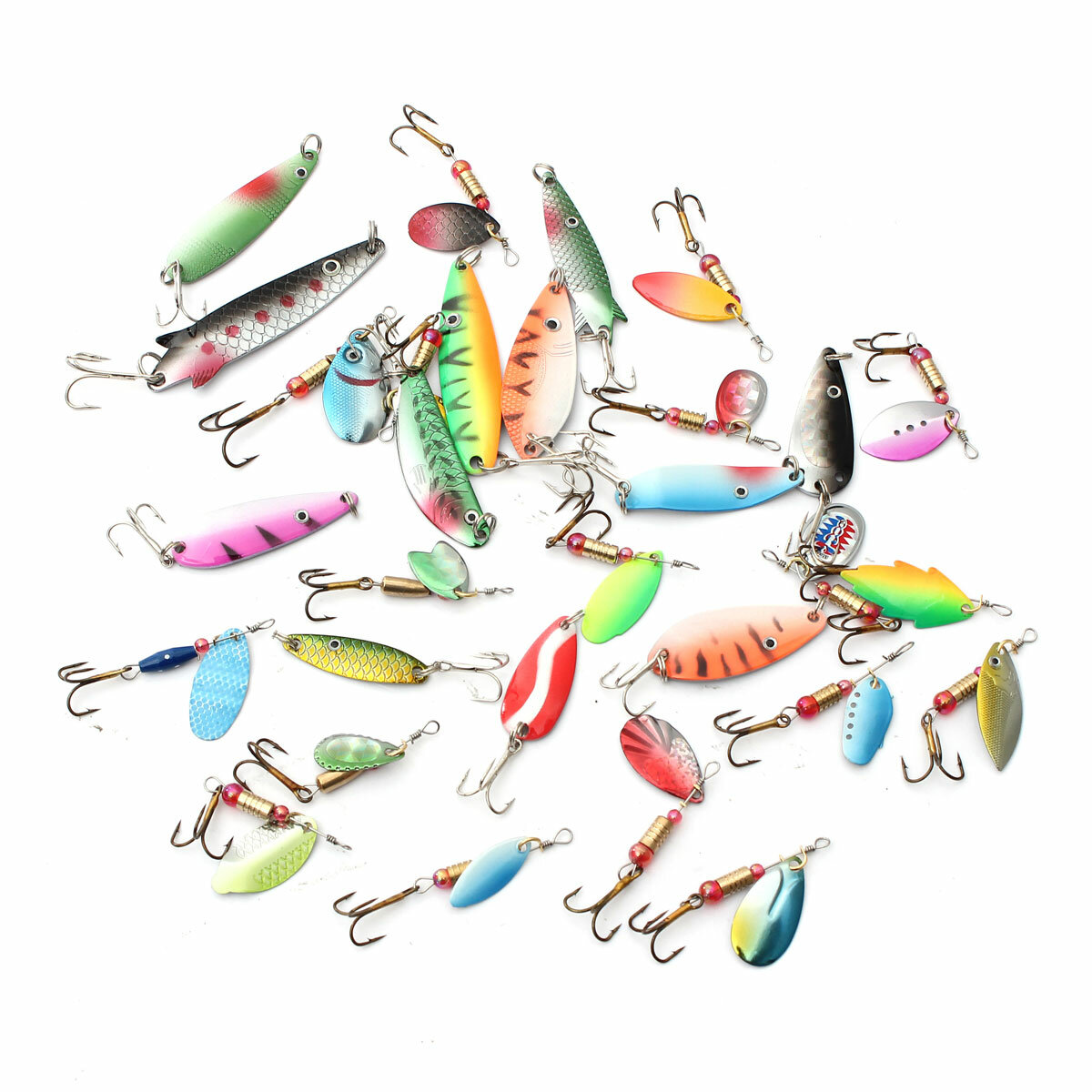 ZANLURE 30pcs assortiti Spinner esche metallo esche da pesca Ami Tackle