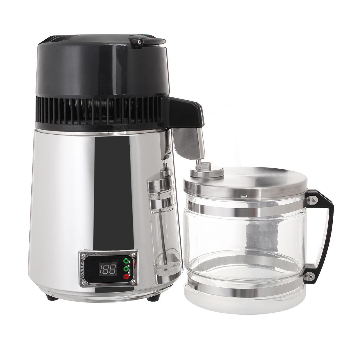 750W 4L Stainless Steel Pure Water Distiller 220V Purifier Filter LED Display Distilled Bottle