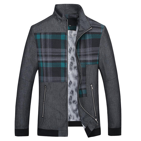 Mens Stand Collar Splicing Business Casual Jacket