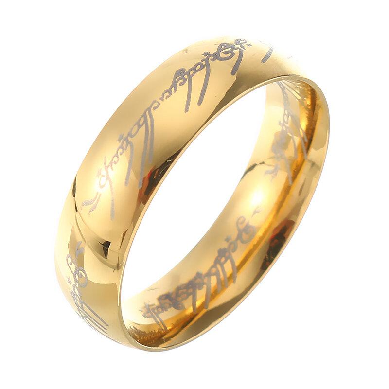 18K Oro Placcato LOTR Anello da Dito Unisex in Acciaio Inossidabile Il Signore degli Anelli