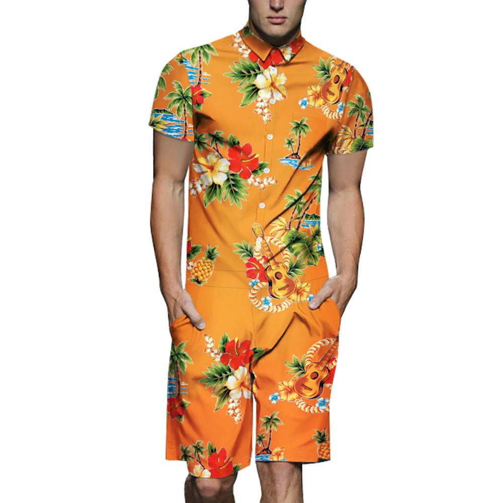 Mens Floral Dragon Pattern Printing Ethnic Style Rompers Set Overalls Jumpsuit