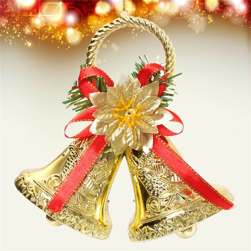 Natale Bowknot Double Bell Xmas Tree Ornament Pendant Door Hanging Decoration