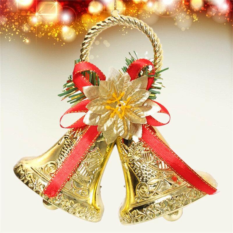 Bowknot noël double cloche arbre de noël ornement pendentif porte décoration suspendue