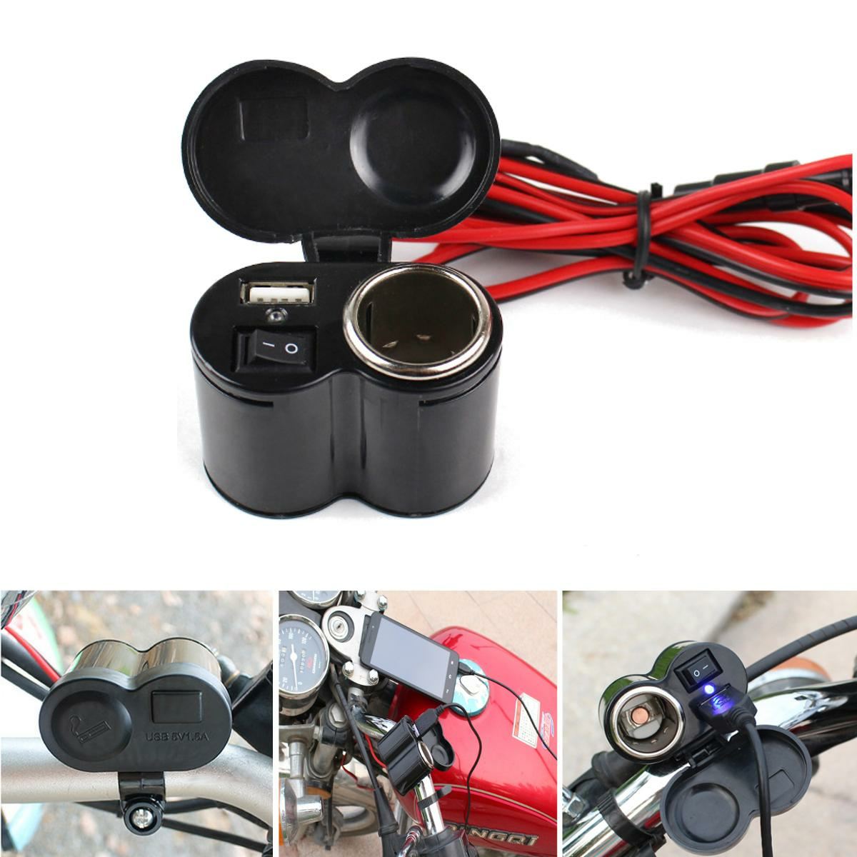 12V-24V Motorcycle E-bike USB Charger Socket with ON-OFF Button