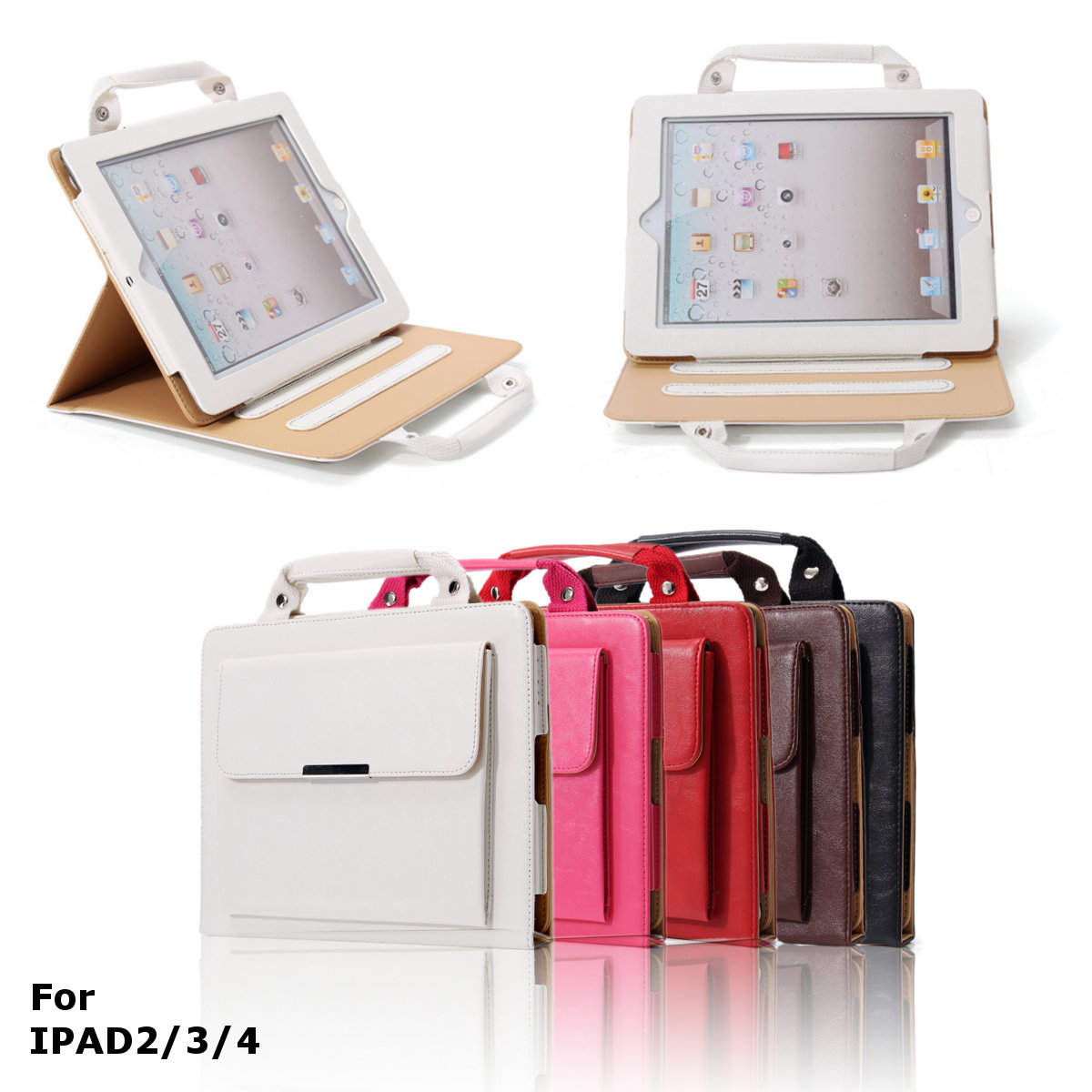 PU Leather Stand Case with Handle & Storage Compartment for iPad 2 3 4 - Perfect for Travel