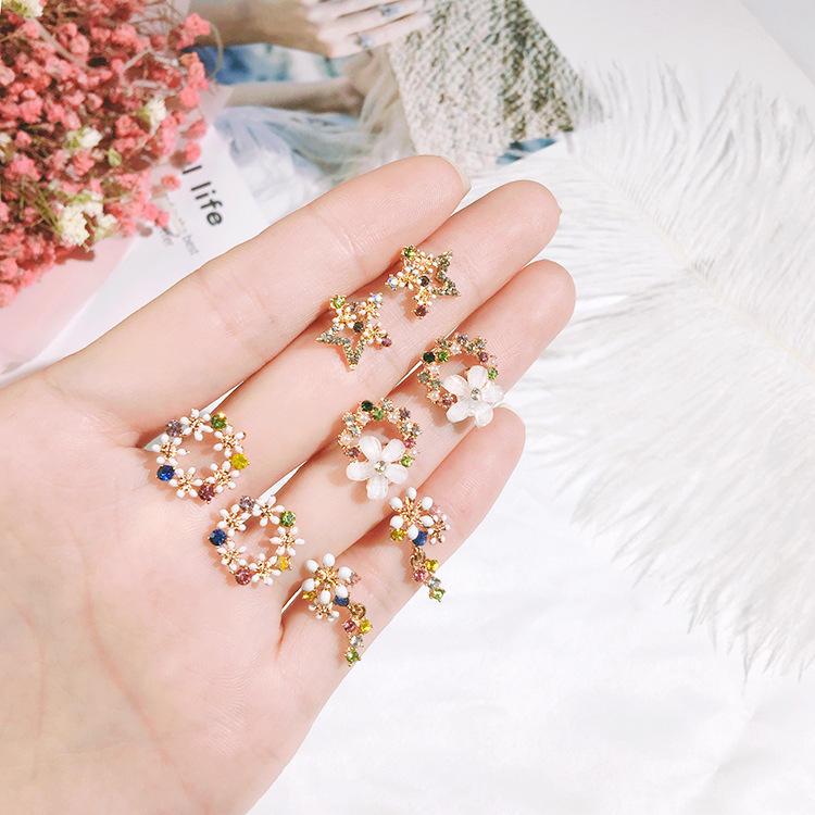 Boucles d'oreilles en argent sterling 925 en forme de coquille avec fleurs pour femmes, mode Colorful