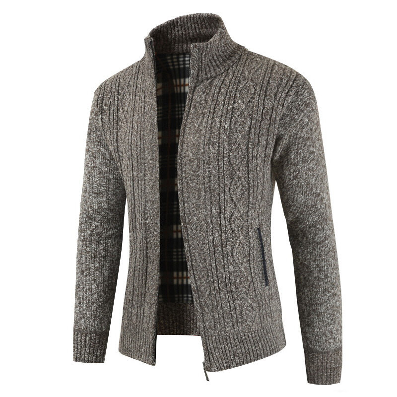 Mens Casual Thick Knit Breathable Stand Collar Zipper Warm Cardigans