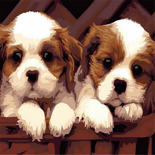 40x50CM Frameless Two Little Dogs Canvas Painting Cute Wall Art Home Decoration