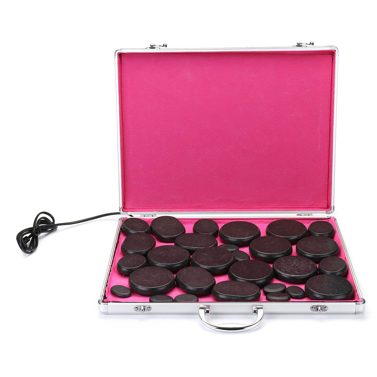 28 PCS Hot Basalt Stone For SPA Massager Therapy Manual With Heating Box Set Skin Relief